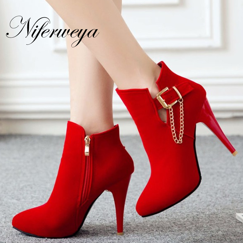 New spring/autumn red wedding thin heel high heels Big size 31-50 women shoes Fashion buckle decoration ladies Ankle boots T2-3 brand new hot sales women nude ankle boots red black buckle ladies riding spike shoes high heels emb08 plus big size 32 45 11