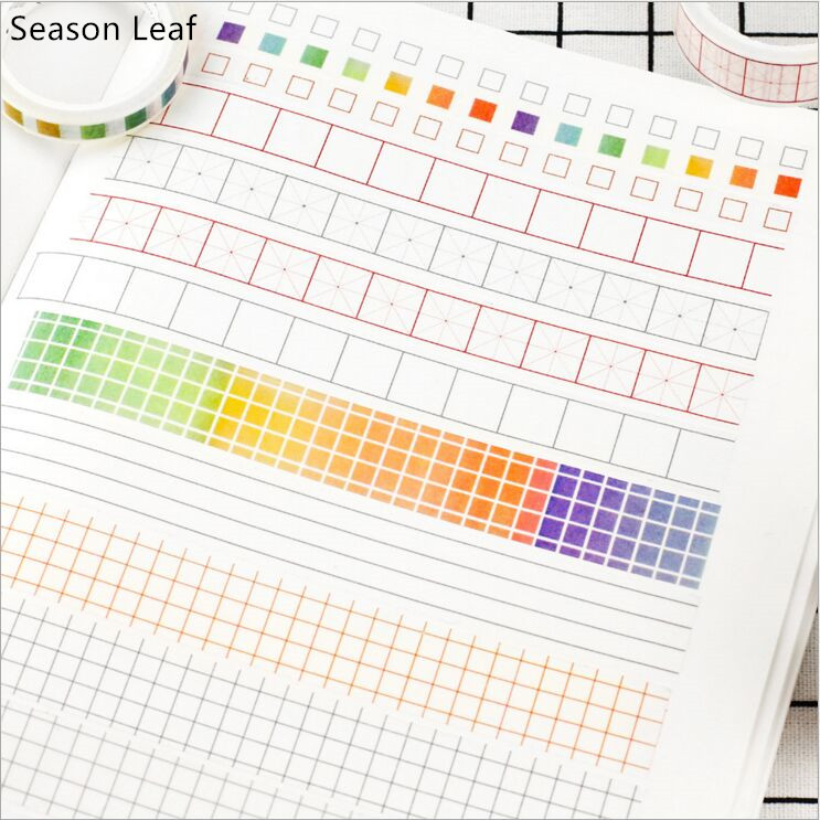 Creative Square Grid Note Tape Daily Agenda Planning Washi Tape DIYDiary Decoration Planner Scrapbook Sticker Label Masking Tape