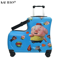 children suitcase with wheels carry ons rolling luggage Cute Can sit to ride travel trolley suitcase kid baby gift Trunk box bag