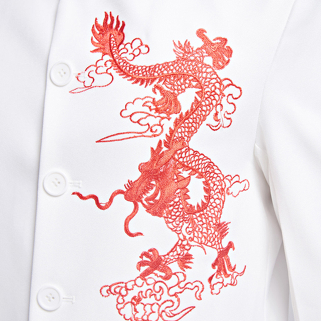 Chinese Traditional Mens Dragon Embroidery White Suit Jacket Mandarin Collar Wedding Jacket For Men Oriental Tang Suit Jackets
