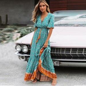 Image 2 - TEELYNN robe maxi Vintage, imprimé Floral, sexy, décolleté en v, ample, style Hippie, style boho, collection 2019