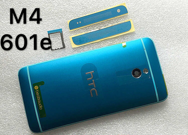 For new HTC one mini M4 blue shell 601e phone shell back cover battery cover the power button The volume buttons