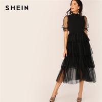 SHEIN Frill Neck Puff Sleeve Tiered Layer Hem Mesh Dress Solid Women Stand Collar 2019 Spring Autumn A Line Dress