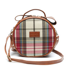 Cute Girl's Plaid Mini Circular Bag New Trend Single Shoulder Canvas Bag