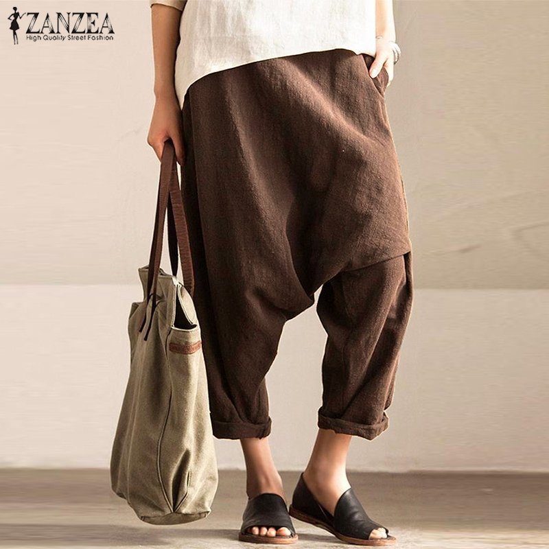 ZANZEA Women Cotton Linen Drop Crotch Pants Autumn Vintage Elastic Waist Solid Harem Trousers Casual Pantalon Turnip Robe Femme
