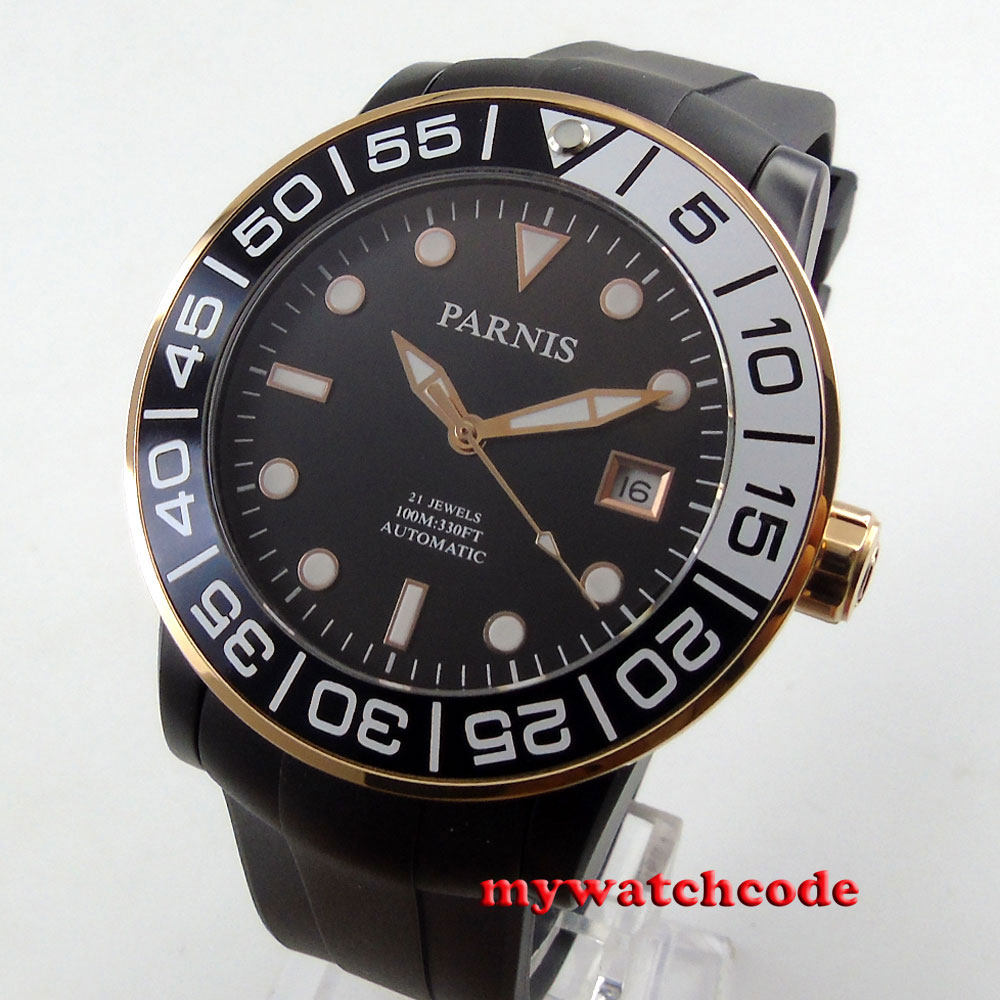 Parnis black dial Sapphire glass PVD case Miyota automatic movement watch P394B japan miyota 40mm pvd case parnis men s watch