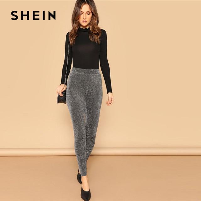SHEIN Silver Glamorous Elastic Waist Sparkle Maxi Leggings Spring Women Streetwear Casual stretchy Solid Leggings Pants 3