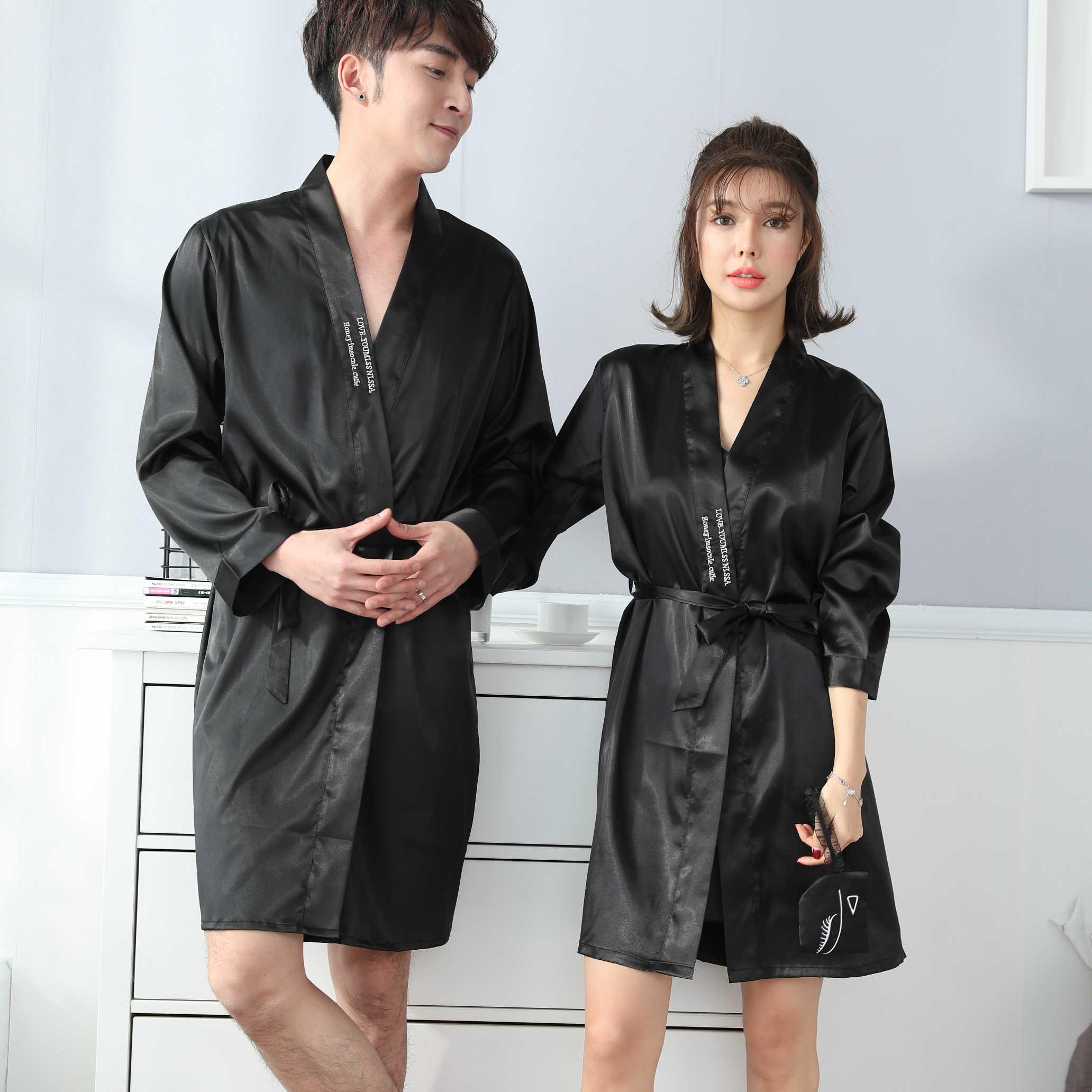 2PCS Sexy Couples Silk Satin Robe Set for Women 2019 Spring Long Sleeve Nightgown  Sleepwear Men 80b1b8546