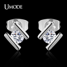 UMODE Rhodium plated 0.25ct Top Grade AAA Cubic Zirconia  Fashion Stud Earrings For Women's Jewelry Gifts AJE0206