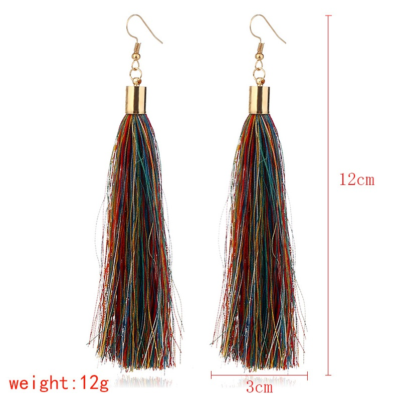 ZHINI Brand Tassel Earrings Women Fashion Jewelry Bohemian Drop Dangle Black Long Earrings Silk Fabric Ethnic Vintage Earrings 2