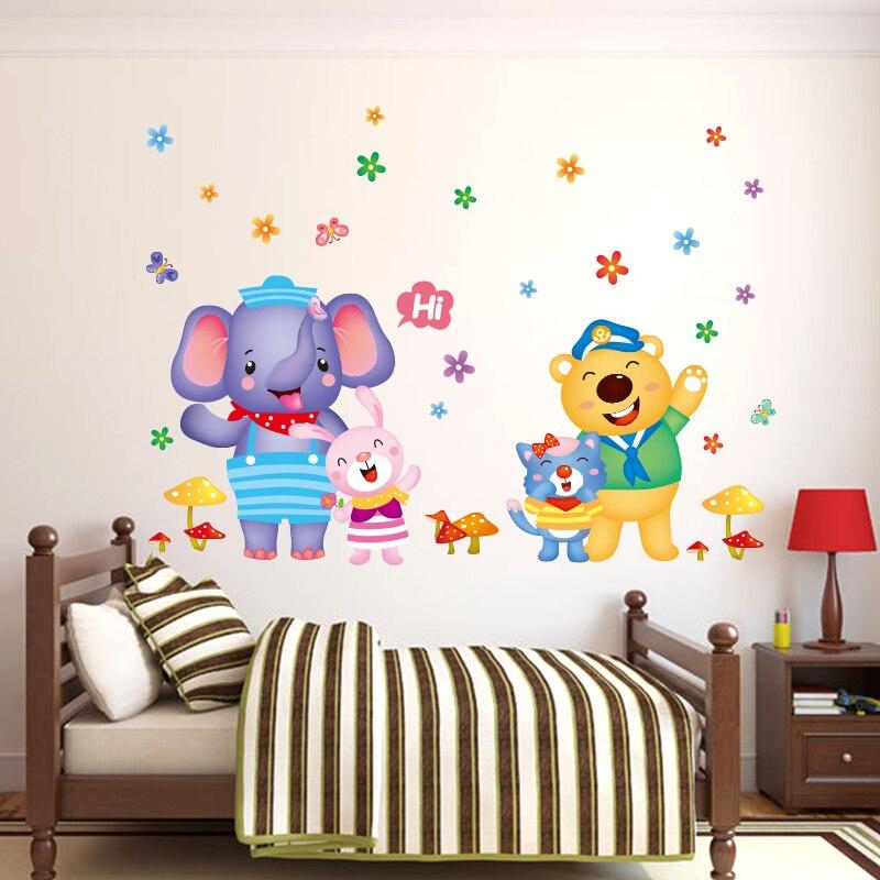 Bear Cat Elephant Rabbit Wall Stickers Children S Room Baby Nursery School Clroom Decorations Door In From Home Garden