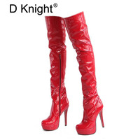 D Knight Women Pole Dancing Boots Bright Patent Leather Thigh High Heel Boots Waterproof Lady Over The Knee High Platform Boots