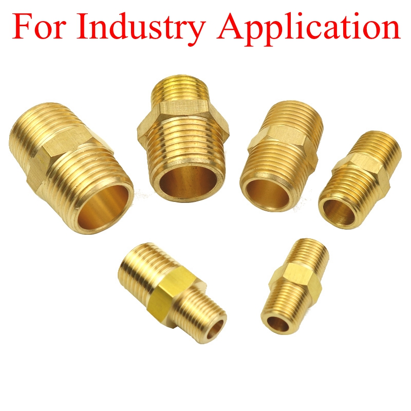 Brass Pipe Fitting Adapter Hex Nipple Connector 1/8