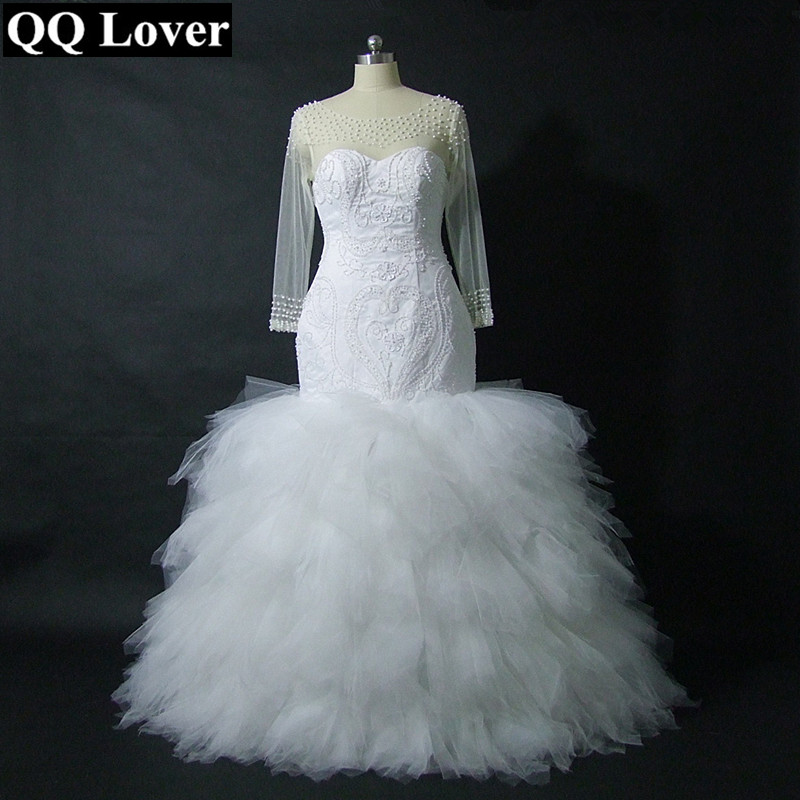 QQ Lover 2019 Luxury Full Beading Long Sleeve Mermaid Wedding Dress New African Bridal Wedding Gown