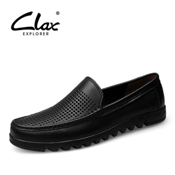 CLAX Mens Shoe Genuine Leather 2019 Summer Breathable Formal Shoe Male mocassin homme Dress Footwear Soft wedding Shoe clax mens brogue shoes genuine leather spring autumn men s casual leather shoe british dress footwear designer wedding shoe soft