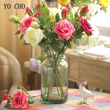 YO CHO Cheap Latex Peony Artificial Flowers Leaf Roses Silk Flower Christmas Home Diy Bridal Bouquet Wedding Decoration Rose