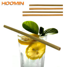HOOMIN Barware Tableware Wood Straws Natural Organic Bamboo Bar Accessories Drinking Straws Biodegradable Kitchen Tools(China)