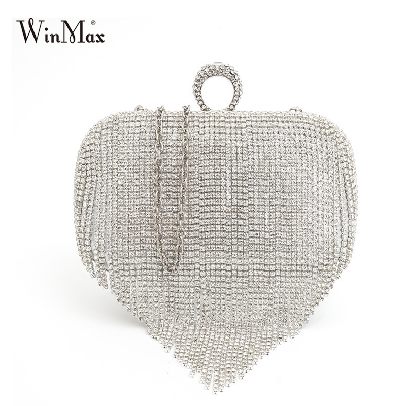 Winmax Women Wedding bride Shoulder Bags Crossbody Gold Clutch Bags tassel Evening Bags Party Day Clutch Purses banquet Handbag retro 2017 floral beaded handbag women shoulder bags day clutch bride rhinestone evening bags for wedding party clutches purses