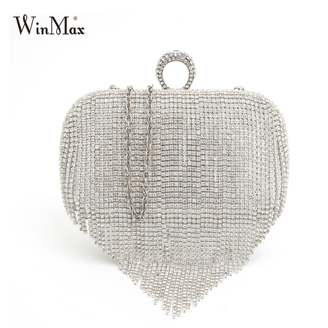 Winmax Women Wedding bride Shoulder Bags Crossbody Gold Clutch Bags tassel Evening Bags Party Day Clutch Purses banquet Handbag
