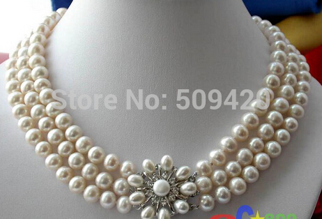 FREE SHIPPING>>>@ W&O653 3ROW 10MM WHITE ROUND FW CULTURED PEARL NECKLACE new