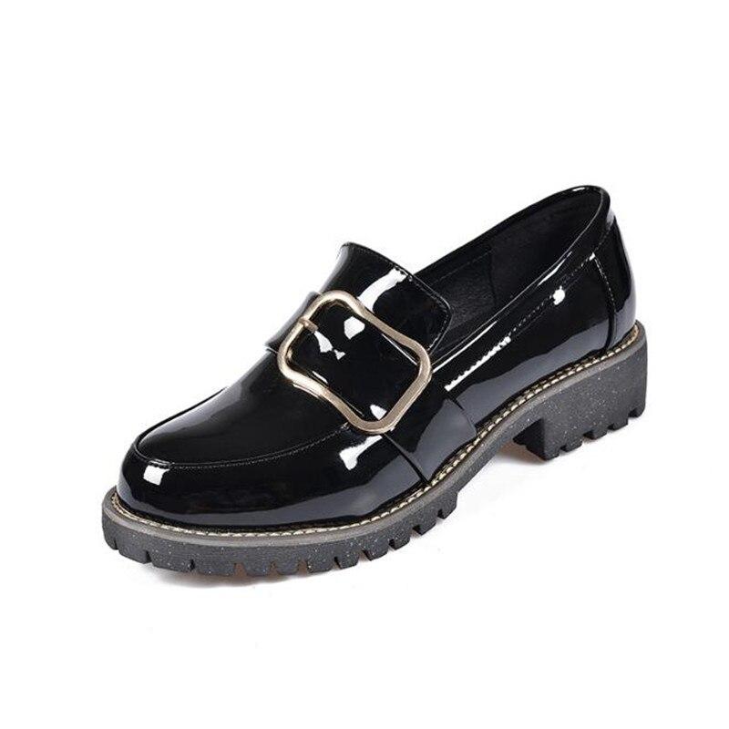Frühling Neue Frauen Schwarz, Weinrot Oxford Schuhe Plus Größe Runde Kopf Wohnungen Britischen Art Der Freizeitschuhe Weibliche Obuv