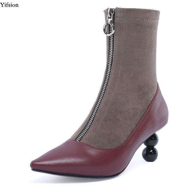 Olomm nouvelles femmes hiver bottines chaussures à talons étranges Nice bout pointu dames vin rouge noir chaussures décontractées femmes taille américaine 3-10.5