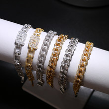 2019 Hip Hop Bling Bling Iced Out Miami cuban Chain luxury brand silver gold 17cm Bracelets For Women Men's Wholesale Jewelry(China)