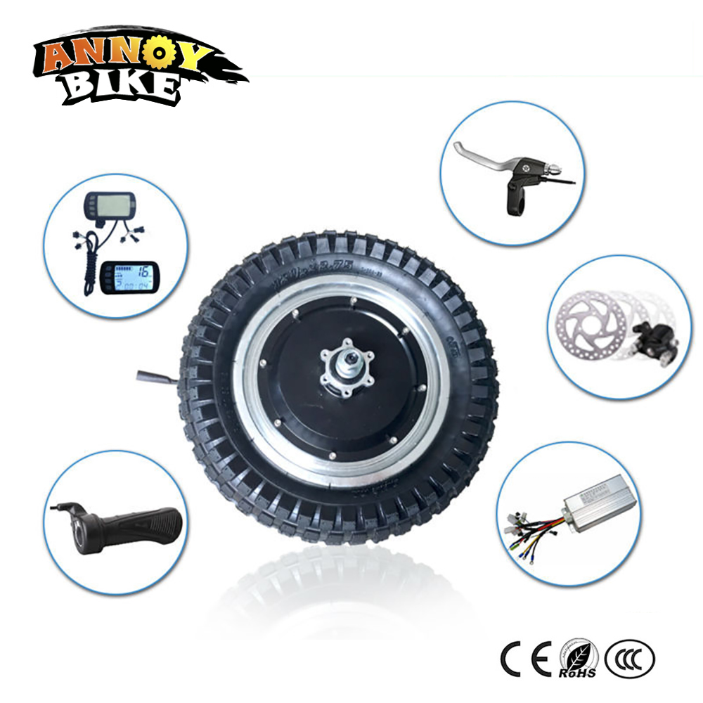 12 zoll elektrische hub motor rad mit LCD Drossel bremshebel e bike conversion kit 48 v 250 watt 350 watt BLDC hub motor schmale reifen