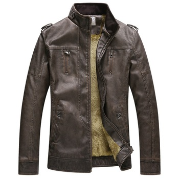 Hot Men Winter Jacket PU Leather Jackets Casual Mens Clothing Keep Warm Pocket Fashion Sheep New Style VAKAUP