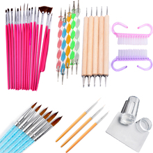 цена на Pandahall Plastic Nail Art Brush UV Gel Polish Painting Drawing Brushes Pen Nail Dotting Kit Clean Brush Manicure Tools Set