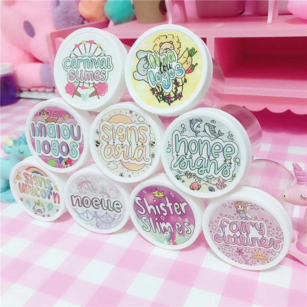 48Pcs Waterproof Round Slime Sticker Containers Sticker Storage Box Sticker Slime Supplies DIY Accessories Bottle Decoration
