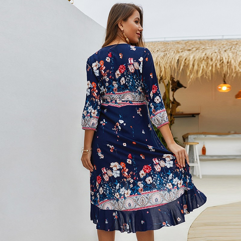 BEFORW Harajuku Boho Floral Print Midi Dress Sexy V Neck Lace Up Party Dresses Women 2019 Summer Casual Beach Sundress Vestidos in Dresses from Women 39 s Clothing