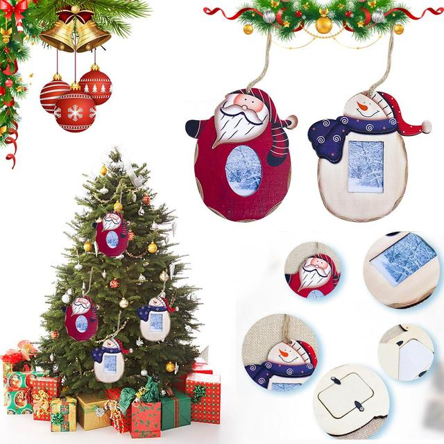 Us 1 42 39 Off Innovative Christmas Photo Frame Hanging Decoration Wooden Christmas Tree Photo Frame Pendant Santa Claus Snowman Paint Pendant4 In