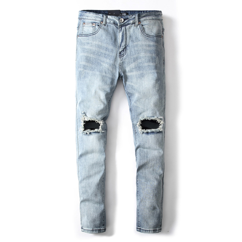European American Fashion Mens Jeans Youth Stylish Streetwear Ripped Jeans For Men Denim Pants DSEL Brand Stretch Skinny Jeans