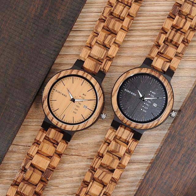 BOBO oiseau LO26-1-2 hommes montres à Quartz mouvement complet calendrier montre semaine affichage de la mode Erkek Kol Saati 2
