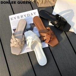 DONLEE KÖNIGIN Frauen Marke Hausschuhe Sommer Gleitet Offene spitze Flache Beiläufige Schuhe Freizeit Sandale Weibliche Strand Flip-Flops Big Größe 41