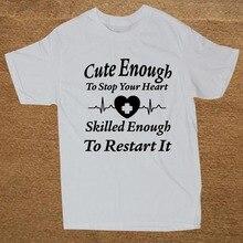 54e565e9c3e1 WEELSGAO Summer Style Funny Calm Heart Rn Nurses Doctor T-shirt Machine  Short Sleeve