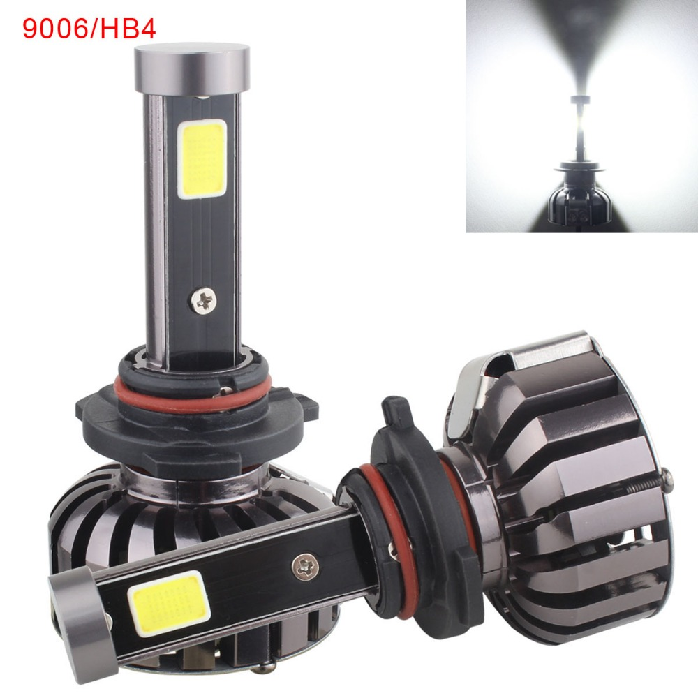 цена на 9006 HB4 80W COB LED Headlight Conversion Bulb Kit 360 Degree Driving Light Fog Lamp 6000K Cool White DC 12V 24V pair