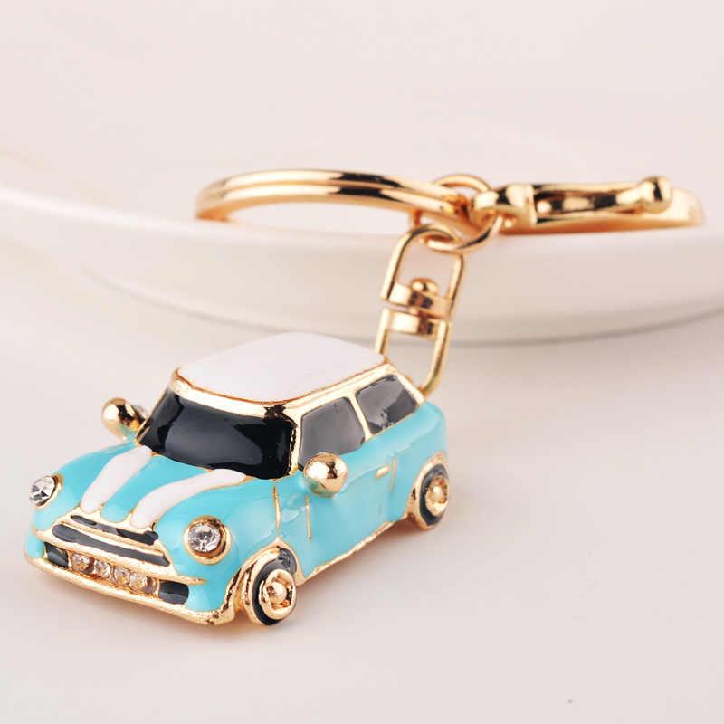 Fashion Cute Mini Kumbang Mobil Gantungan Kunci Kristal Berlian Imitasi Tas Liontin Gantungan Kunci Gantungan Kunci Kreatif Hadiah 4 Warna DROP Shipping
