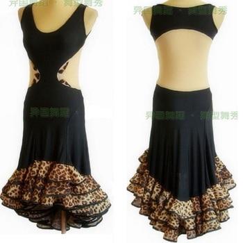 Latin dance sleeveless backless dress W11039 ruffle dress hem Latin exercise performance