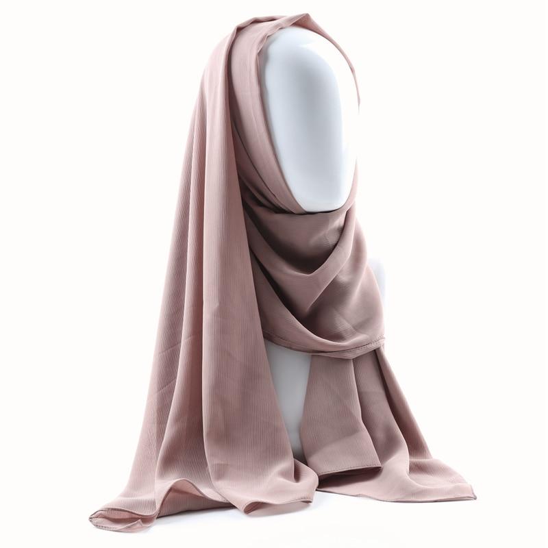Image 4 - Цельный женский однотонный простой креп шифон хиджаб шарф  Обертывания мягкие длинные мусульманские платки хиджабы шифоновые шарфы  хиджабыЖенские шарфы