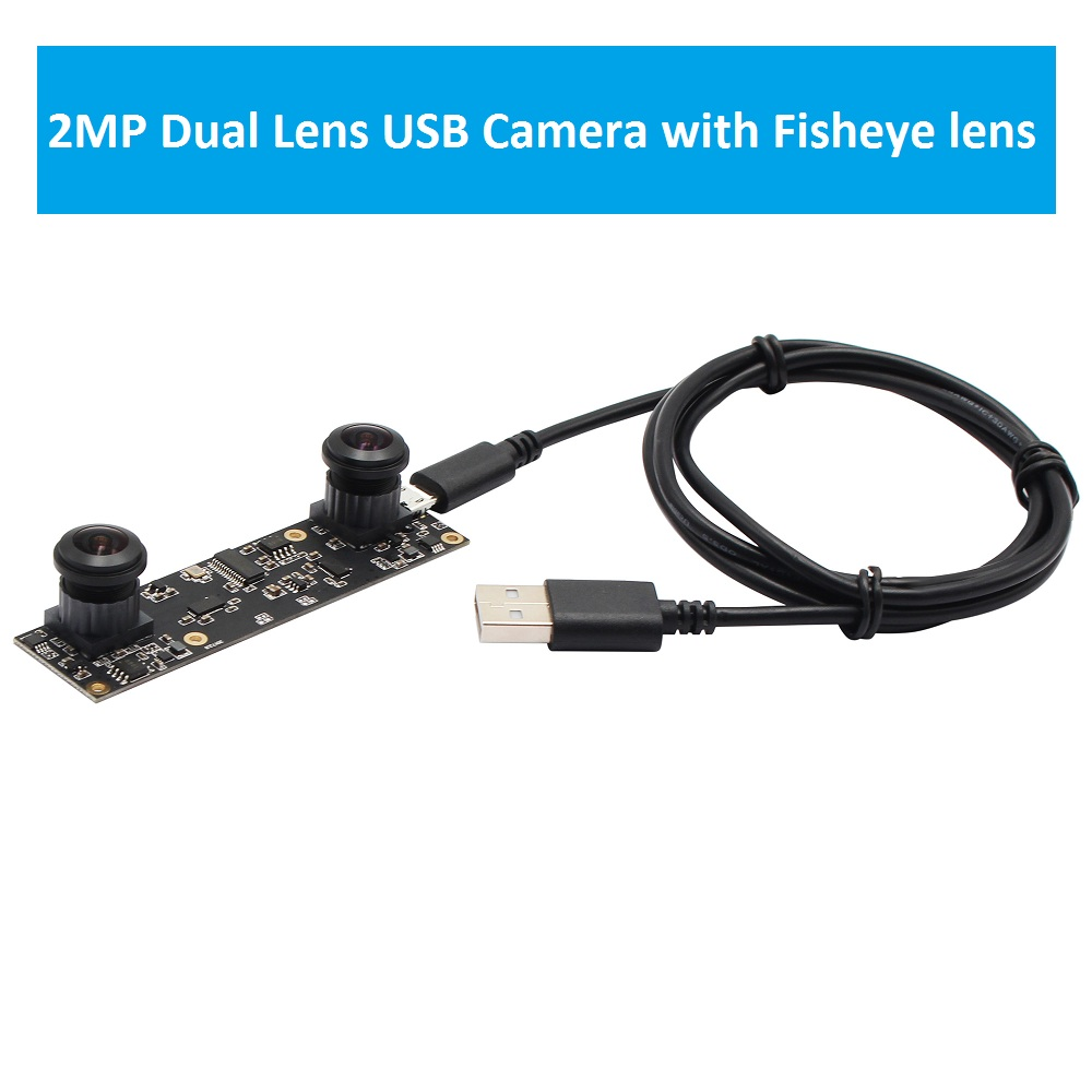 цена на ELP 2MP Full HD Wide Angle dual Fisheye lens 180degree 0.1Lux High Speed 30fps OTG UVC USB Camera Module for 3D Machine Vision