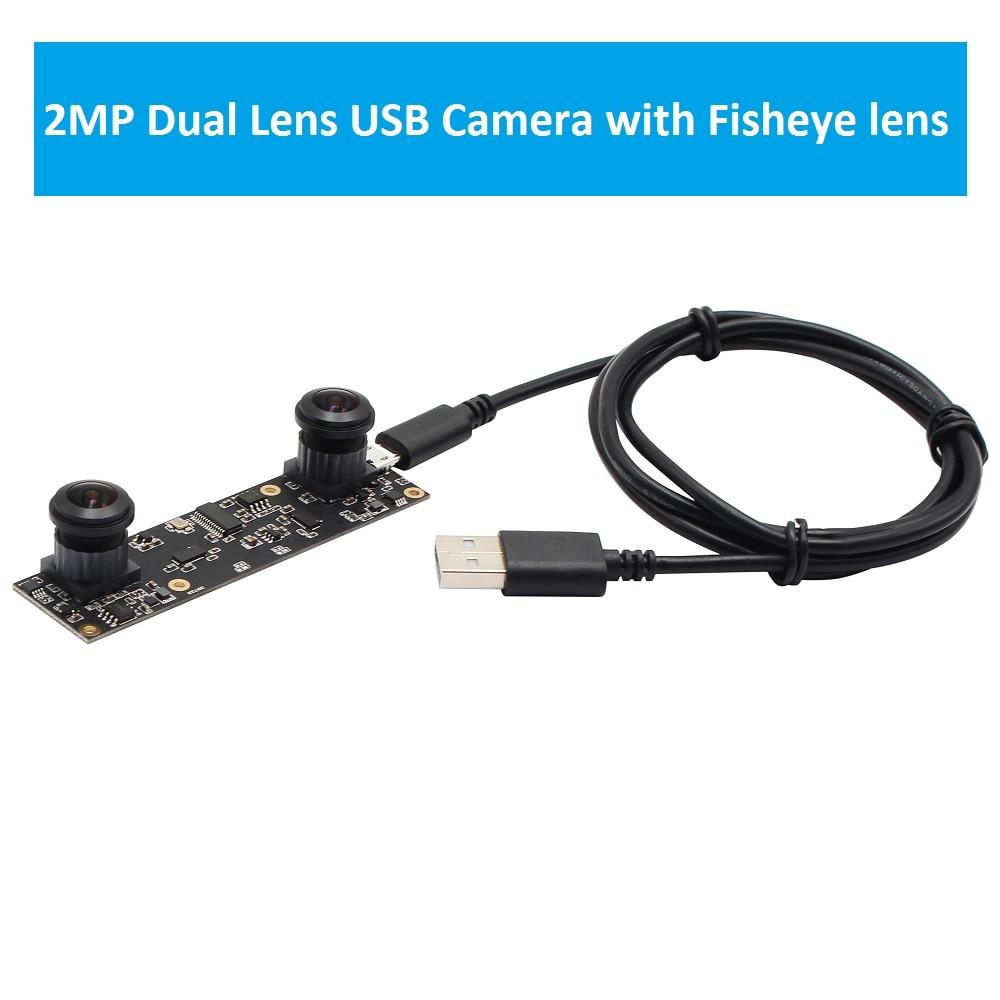 ELP 2MP Full HD Wide Angle dual Fisheye lens 180degree 0.1Lux High Speed 30fps OTG UVC USB Camera Module for 3D Machine Vision стоимость