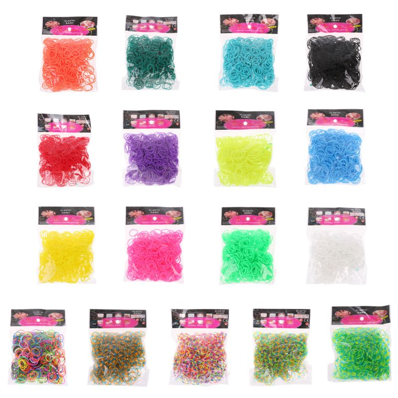 600PCS Rainbow Mega Refill Rubber Bands DIY Bracelets Bands Party Favor Art Crafts For Girls