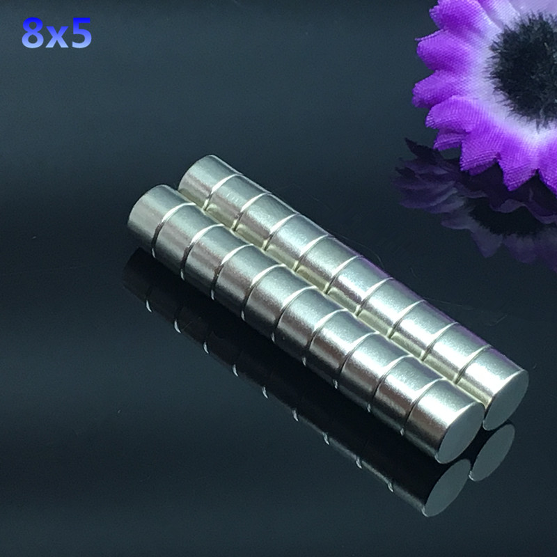 50pcs 8x5mm Strong Round Cylinder Magnets 8x5 mm Rare Earth Neodymium N52 Permanent Magnet Powerful Magnet Round Magnet  8*5mm 70 50 bigest strong magnets 70mm x 50mm disc powerful magnet craft neodymium rare earth permanent strong n50 n52 70 50 70x50