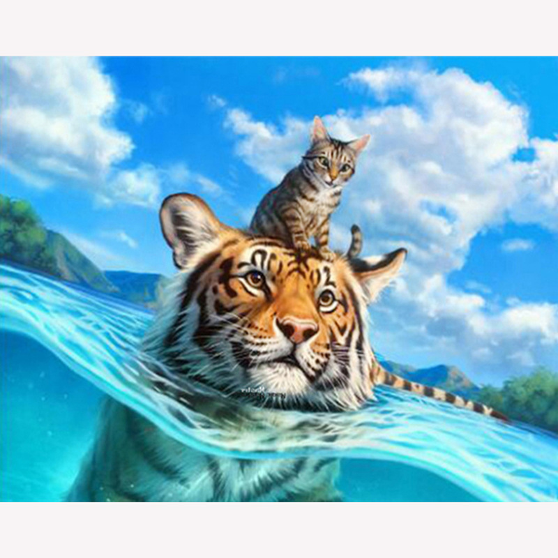 YIKEXIN 5d DIY Diamond Painting Tigers Cross Stitch Animal