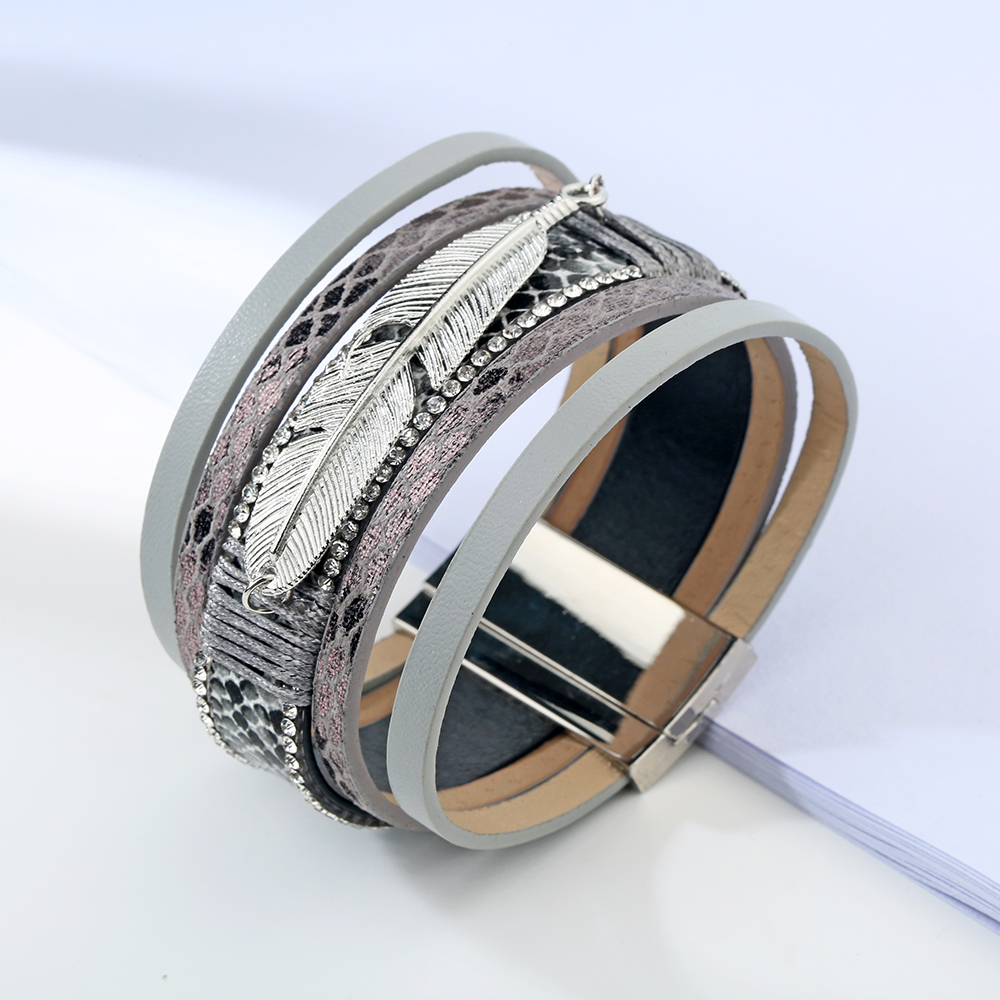 17 Fashion Alloy Feather Leaf Wide Magnetic Leather Bracelets & Bangles Multilayer Wrap Bracelets for Women Men Jewelry 6