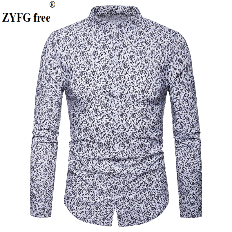 Fashion Men's Shirts 2019 Spring Cashew Flowers Printed Casual Camisas Masculina Black White Navy Blue Male Shirt EU Large Size