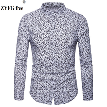 Fashion Mens shirts 2019 spring Cashew flowers printed Casual camisas masculina black white navy blue male shirt EU large size