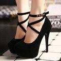 2017 сексуальные женщины насосы красные нижние высокие каблуки туфли на платформе дамы свадебные туфли невесты chaussure femme коготь большой размер 12 см каблуки